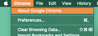 Chrome > About Chrome > Update browser screenshot
