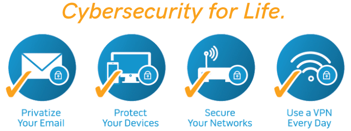 Cybersecurity for Life 4 circle products icons
