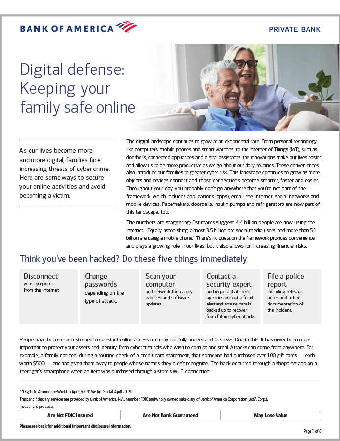 Digital Defense-keeping your family safe online Bank of America white paper