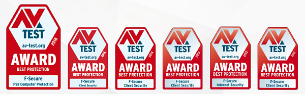 F-Secure best award 6 times