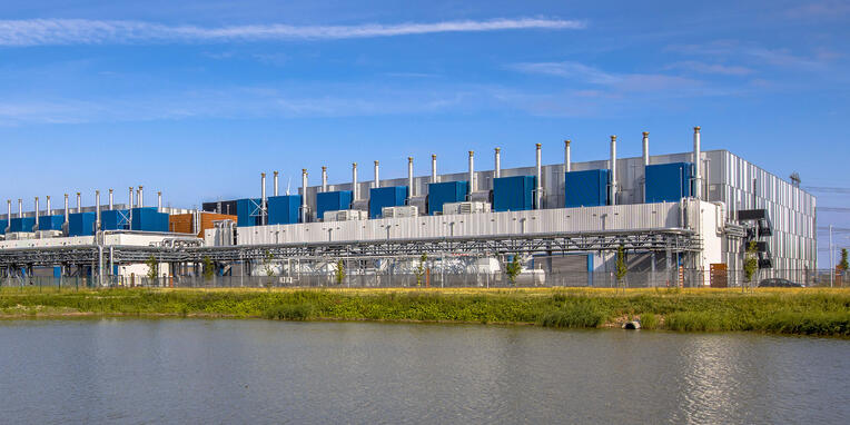 Google data center under blue sky privacy