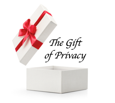 The Gift of Privacy white box red bow 2017