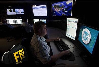 FBI agent at a computer in a data center