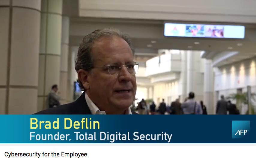 video still of Brad Deflin on digital security at the AFP annual conference.