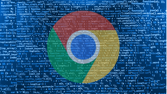 screen of code with chrome logo