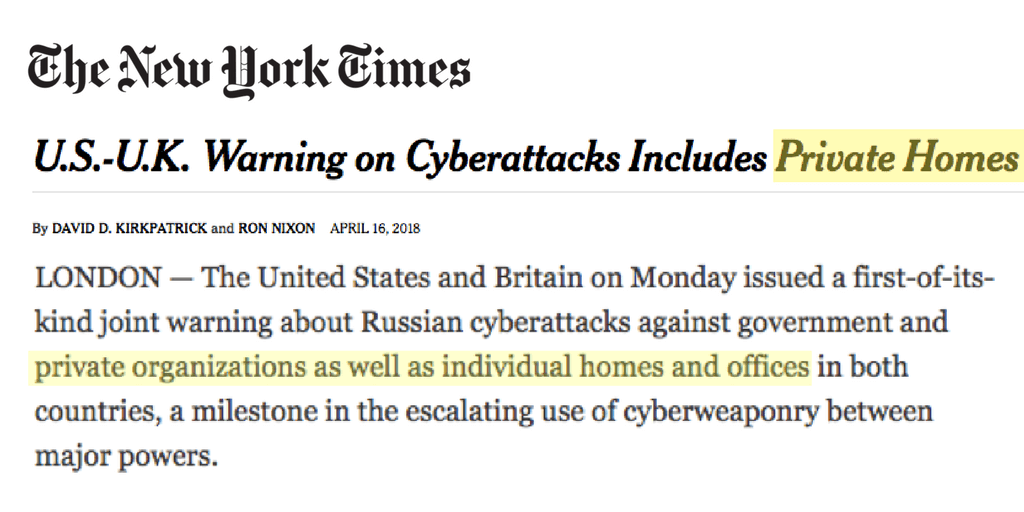 NYTimes Russians in our routers headline