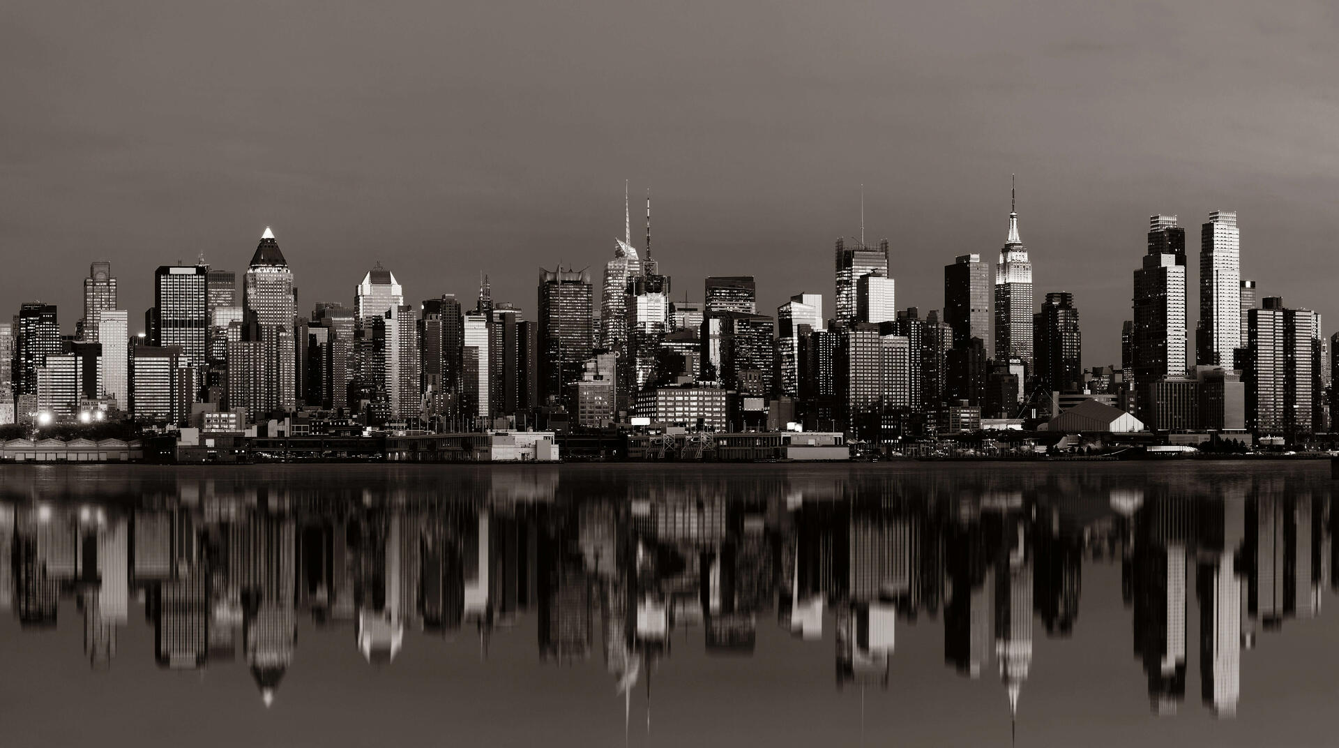 New York City NY black and white city scape in lights rx crop