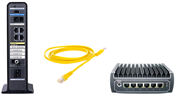 modem LAN connected to OmniWAN OBR security appliance