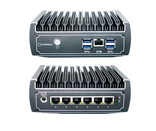 OmniWAN SD-WAN security appliance front and back