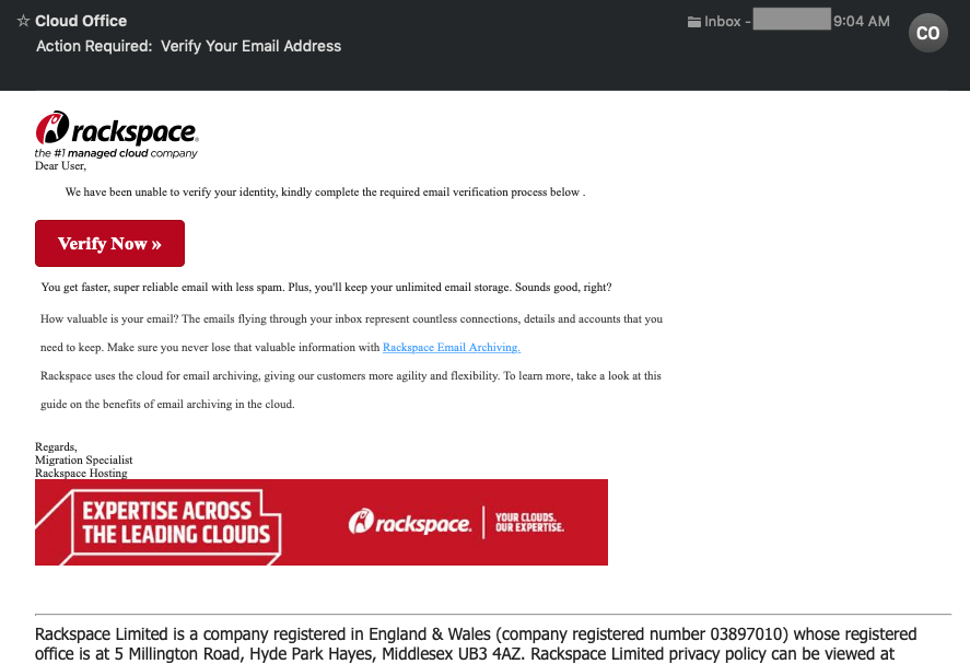 Rackspace email verification scam.