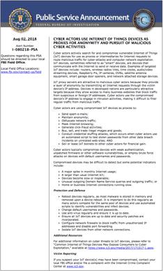 FBI PSA Internet of Things warning