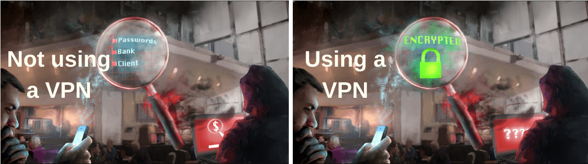 before and after a vpn on wifi network hacker image