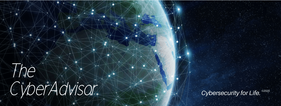 banner to the CyberAdvisor Newsletter with image of Earth and network nodes.