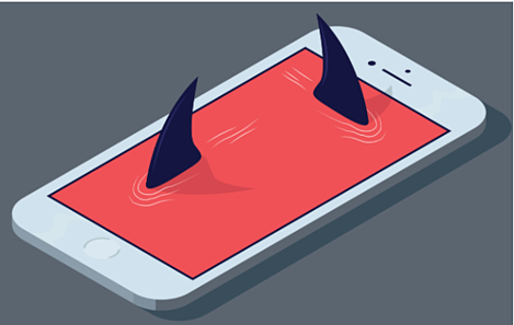 graphic of a smart phone with shark fins