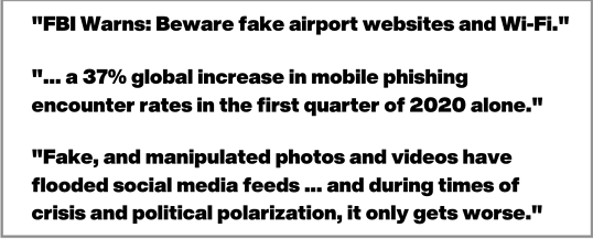 news of FBI quote on fake airport websites and phishing scams