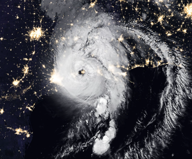 satellite image of a hurricane over the US