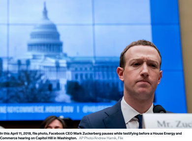 Photo of Mark Zuckerberg with an image of the U.S. Capitol Building behind him.