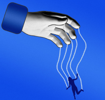 WSJ image of a hand and puppet with blue background