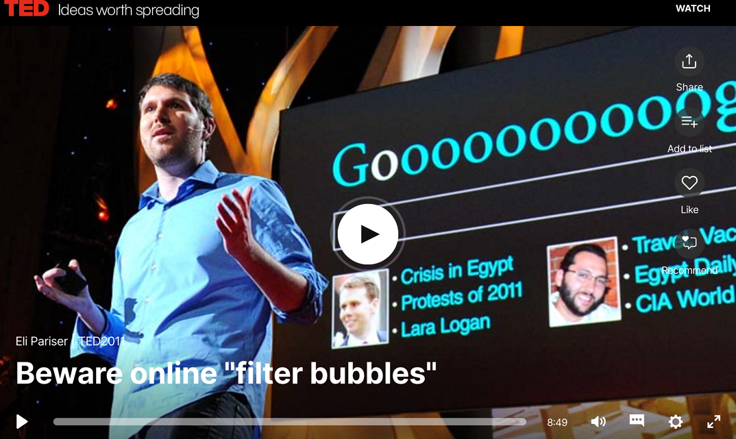 Screen Shot of Eli Parier TED talk on filter bubbles
