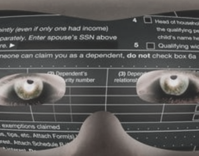 superimposed images of burglar's eyes behind an IRS form 1040