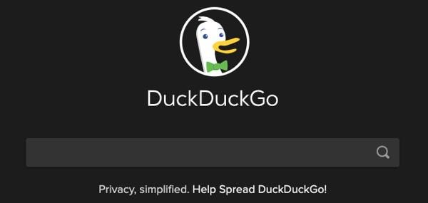Screen Shot of search engine DuckDuckGo