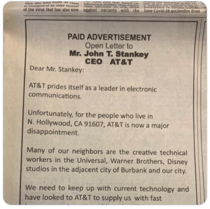 An ad in the Wall St Journal from an angry AT&T internet customer