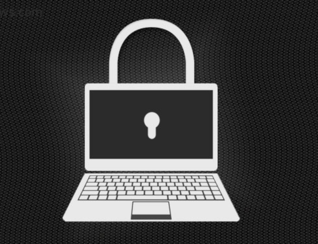 graphic of laptop with lock for ransomware