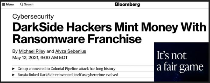 Bloomberg headline ransomware gangs printing money