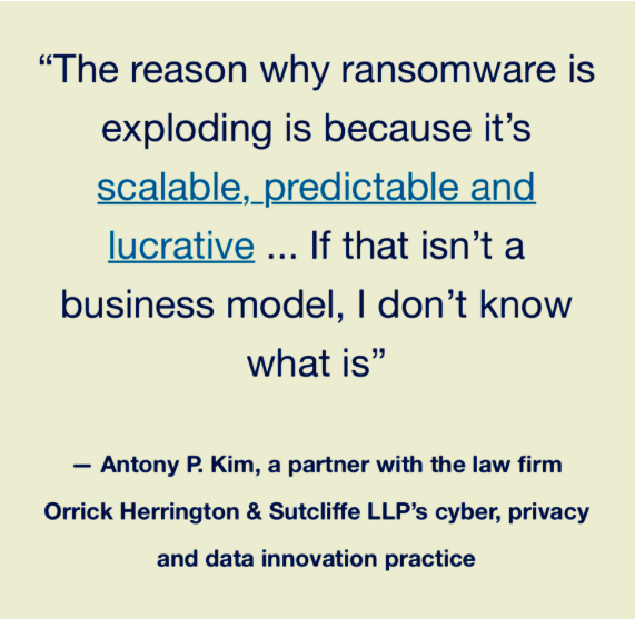a headline about the ransomware business model and scalability