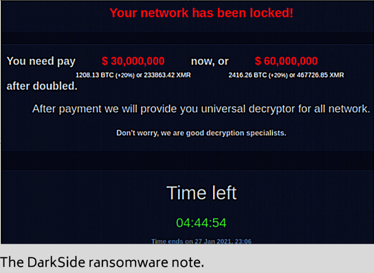 a screenshot of the DarkSide ransomware note