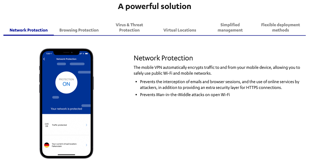 a screenshot from F-Secures website for Mobile Protection and VPN