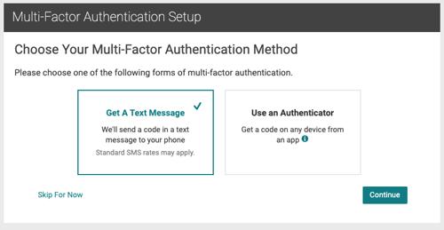 Screen Shot private email webmail MFA options setup