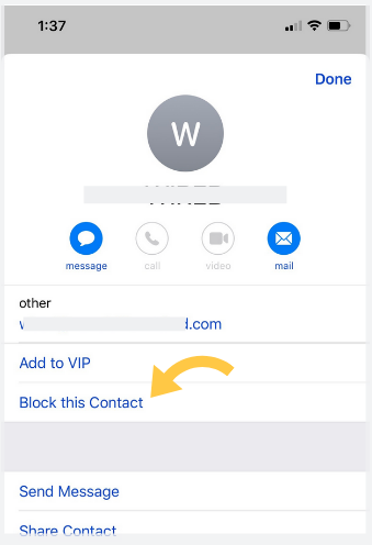 Screenshot ios13 block sender stop spam