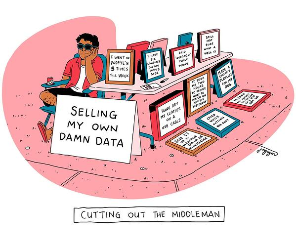 Sell my own data cartoon by Jeremy Wins