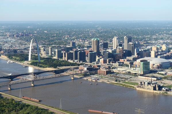 St. Louis MO aerial shot skyline and arch rx