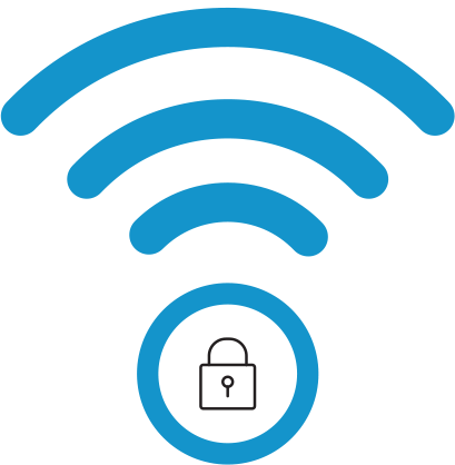 TDS brand icon - WiFi network security lock