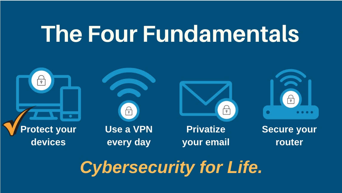 The Four Fundamentals of Cybersecuriy for Life blue graphic ck mark DP