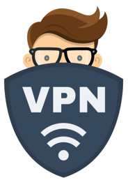 VPN face cartoon drawing shield