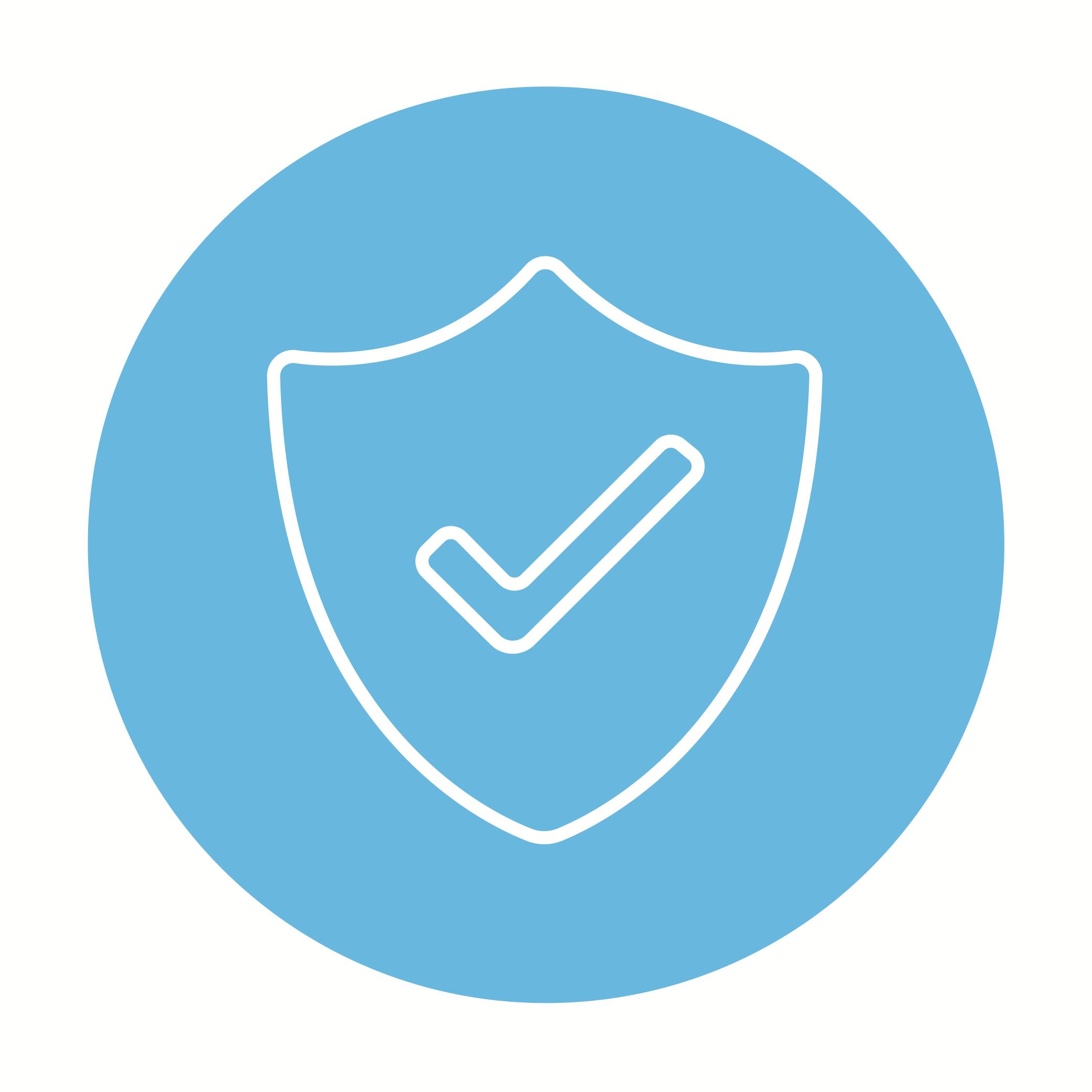 blue circle shield test checkmark