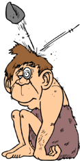 caveman stone hit head