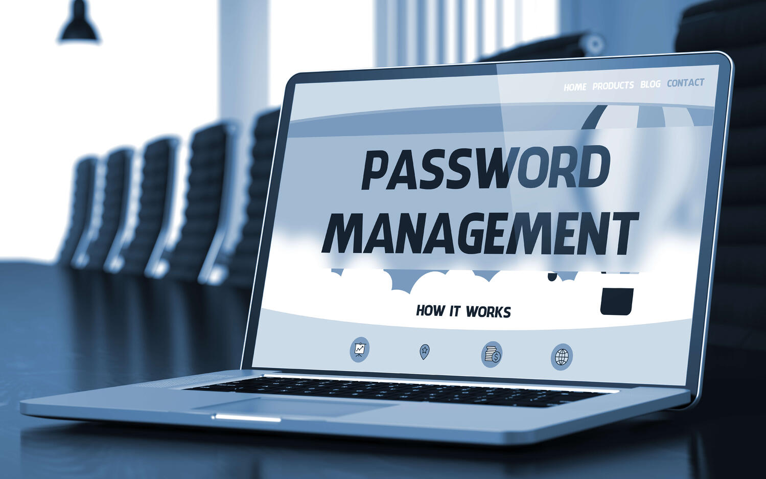 password manager on laptop in conf room black and white