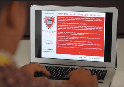 ransomware user laptop screen