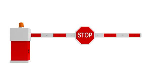 red and white security gate STOP sign