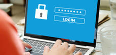 red shirt laptop blue login screen rx