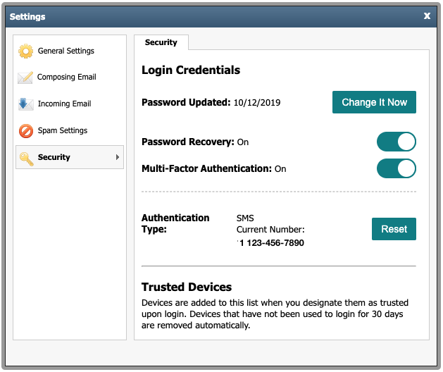 screenshot of multifactor authentication security settings in private email-png