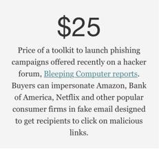 screenshot of phishing toolkit headline $25