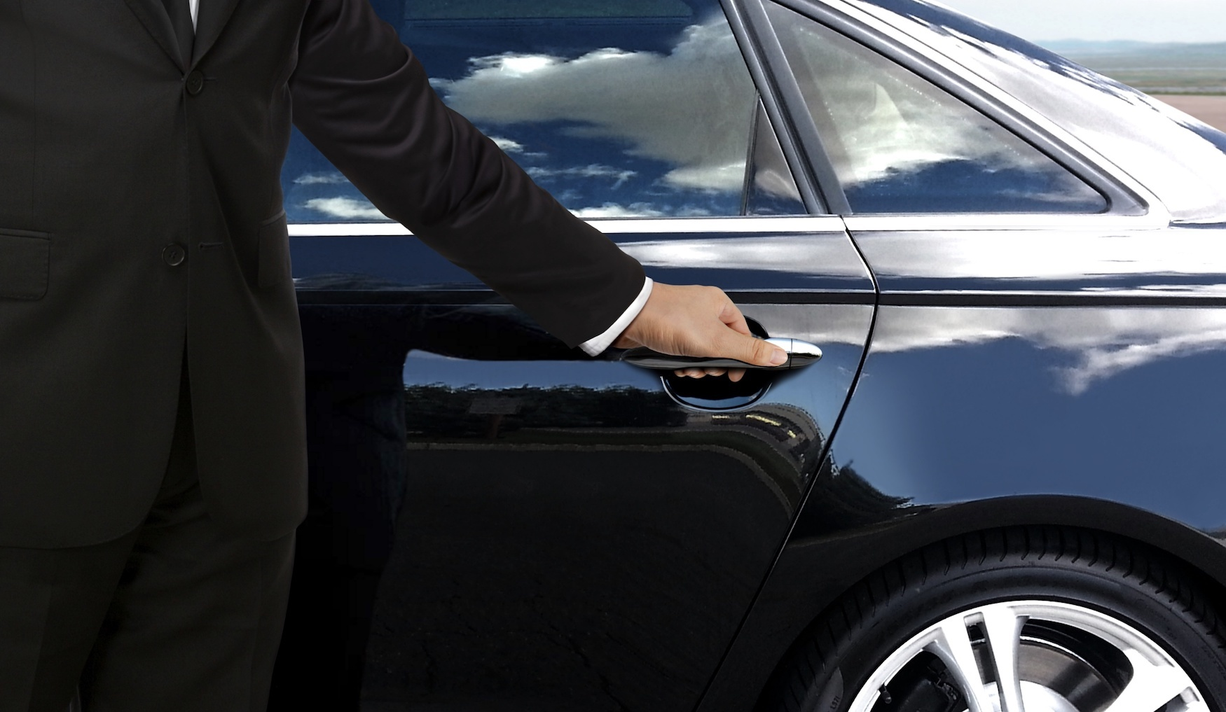 Chauffer black car door cybersecurity for VIPs rx