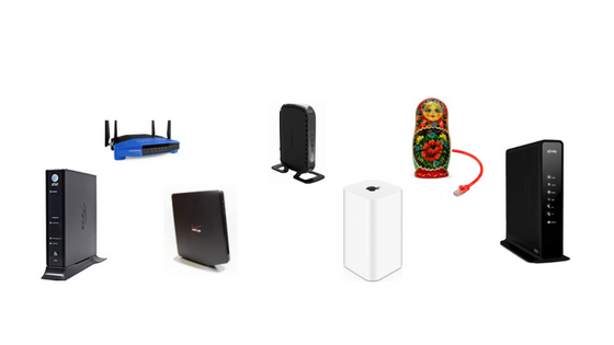 an assortment of WiFi router models