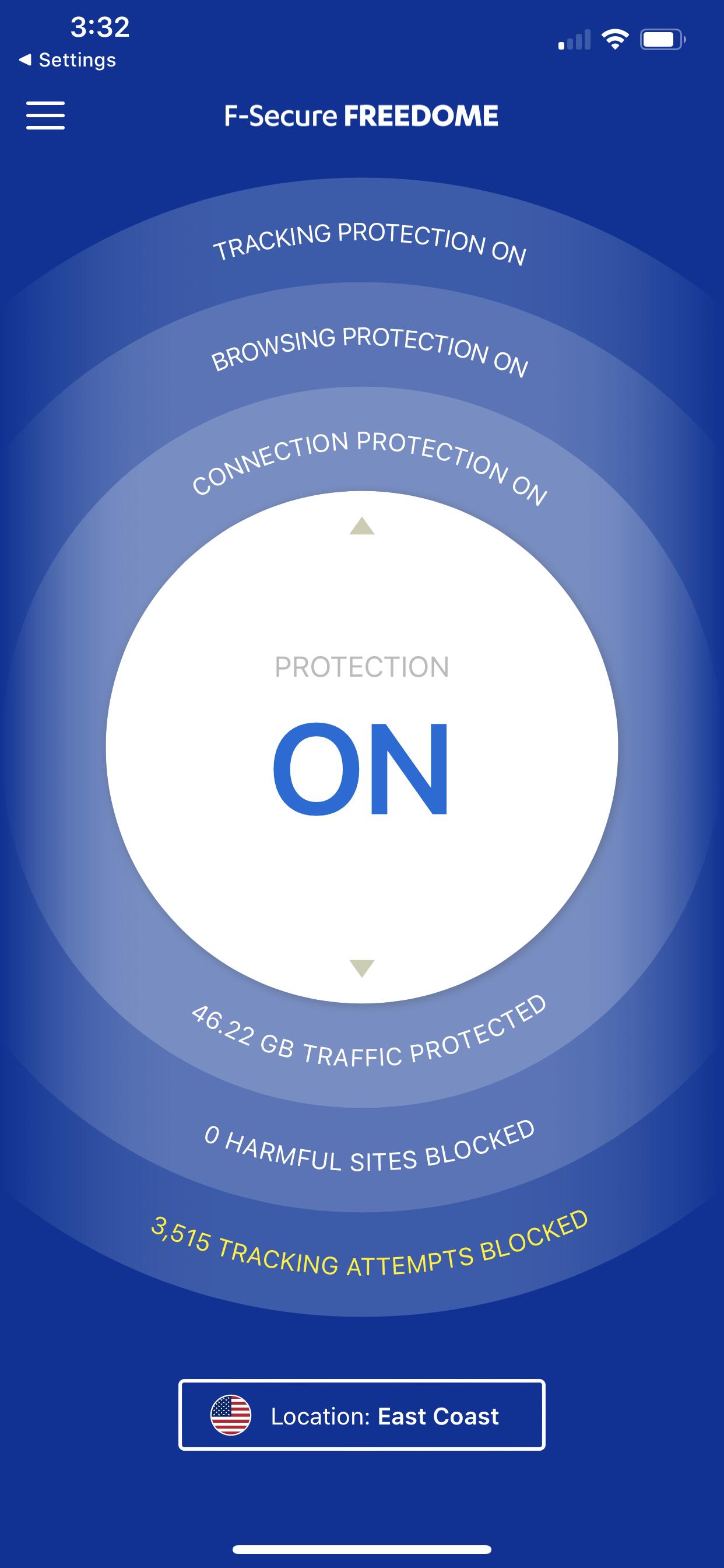 screenshot VPN Freedome ON 2020