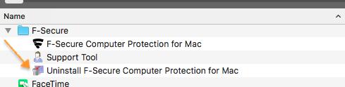 screenshot of F-Secure app directory
